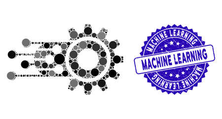 Mosaic machine learning icon and distressed stamp seal with Machine Learning caption. Mosaic vector is formed with machine learning icon and with scattered circle items.