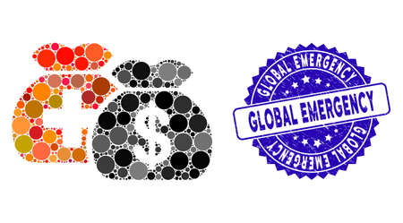 Mosaic medical fund bags icon and grunge stamp seal with Global Emergency phrase. Mosaic vector is formed from medical fund bags icon and with randomized circle elements. Çizim