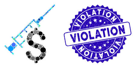 Mosaic narcotic business icon and rubber stamp seal with Violation phrase. Mosaic vector is designed with narcotic business icon and with scattered circle elements.