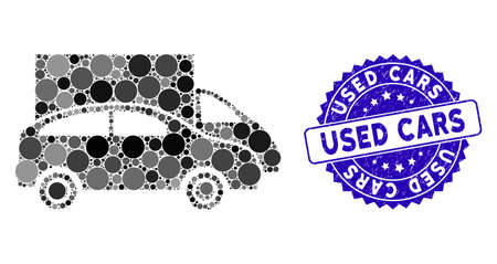 Collage cars icon and corroded stamp seal with Used Cars phrase. Mosaic vector is composed with cars icon and with randomized circle elements. Used Cars stamp seal uses blue color, and grunge surface.
