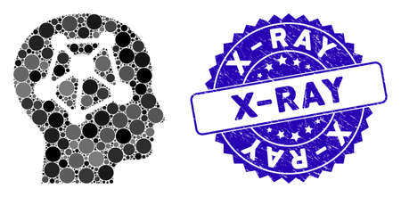 Mosaic human neural network icon and grunge stamp seal with X-Ray text. Mosaic vector is designed with human neural network icon and with scattered round elements. X-Ray stamp uses blue color,
