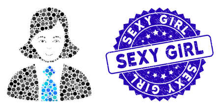 Collage business woman icon and distressed stamp seal with Sexy Girl caption. Mosaic vector is composed with business woman pictogram and with random spheric items. Çizim