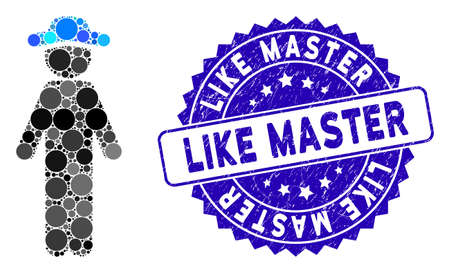 Mosaic standing gentleman icon and distressed stamp seal with Like Master phrase. Mosaic vector is created with standing gentleman icon and with random round items. Иллюстрация