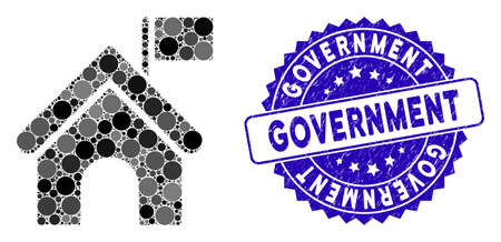Mosaic government building with flag icon and distressed stamp seal with Government text. Mosaic vector is formed with government building with flag icon and with randomized spheric items.
