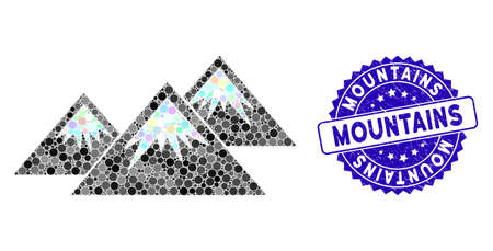 Mosaic icecap mountains icon and corroded stamp seal with Mountains caption. Mosaic vector is designed from icecap mountains icon and with random round spots. Mountains stamp seal uses blue color,  イラスト・ベクター素材