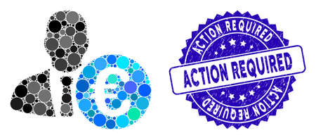Collage Euro banker icon and distressed stamp seal with Action Required phrase. Mosaic vector is created with Euro banker icon and with random round elements.
