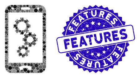 Mosaic smartphone settings gears icon and grunge stamp seal with Features caption. Mosaic vector is composed with smartphone settings gears icon and with random circle items. Ilustração
