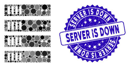 Mosaic server icon and corroded stamp seal with Server Is Down phrase. Mosaic vector is designed with server icon and with randomized spheric spots. Server Is Down stamp seal uses blue color,