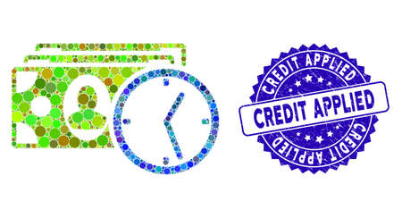Mosaic credit icon and grunge stamp seal with Credit Applied caption. Mosaic vector is designed from credit icon and with random spheric spots. Credit Applied stamp uses blue color, and dirty texture.