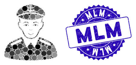 Mosaic captain icon and rubber stamp watermark with Mlm caption. Mosaic vector is formed from captain icon and with random round spots. Mlm stamp seal uses blue color, and rubber design. Çizim