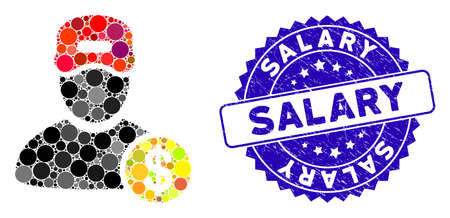Mosaic guy salary icon and corroded stamp seal with Salary caption. Mosaic vector is created with guy salary icon and with randomized circle elements. Salary stamp seal uses blue color, Illusztráció