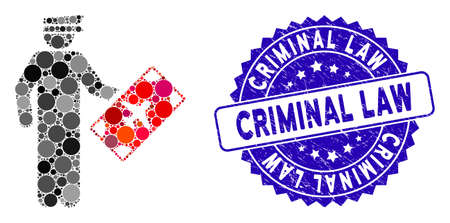 Mosaic air officer icon and distressed stamp seal with Criminal Law caption. Mosaic vector is formed with air officer icon and with randomized round spots. Criminal Law stamp seal uses blue color, Illusztráció