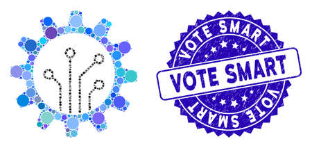 Mosaic gear chip icon and distressed stamp seal with Vote Smart text. Mosaic vector is composed with gear chip icon and with randomized circle items. Vote Smart stamp seal uses blue color,