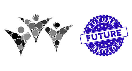 Mosaic future people group icon and rubber stamp seal with Future caption. Mosaic vector is formed from future people group icon and with randomized spheric items. Future stamp uses blue color,