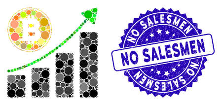 Mosaic Bitcoin growing chart icon and rubber stamp watermark with No Salesmen text. Mosaic vector is created from Bitcoin growing chart icon and with randomized spheric items.