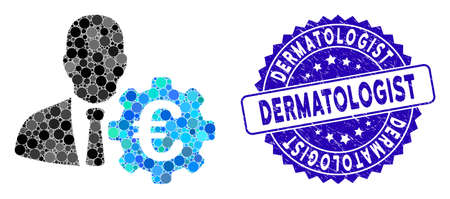Collage Euro economist icon and rubber stamp seal with Dermatologist caption. Mosaic vector is created with Euro economist icon and with random circle items. Dermatologist stamp seal uses blue color,