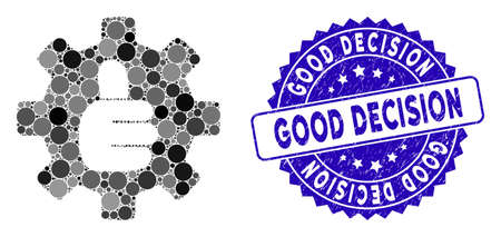 Mosaic gear thumb OK icon and rubber stamp seal with Good Decision text. Mosaic vector is created with gear thumb OK icon and with randomized round items. Good Decision seal uses blue color,