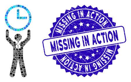 Mozaïek tijdkampioen icoon en noodlijdende zegel met tekst Missing in Action. Mozaïekvector wordt gevormd uit het tijdkampioenpictogram en met gerandomiseerde ronde vlekken. Vector Illustratie