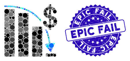 Mosaic epic fail icon and grunge stamp seal with Epic Fail caption. Mosaic vector is created with epic fail pictogram and with random circle elements. Epic Fail seal uses blue color,
