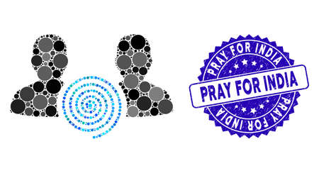 Collage hypnosis sect icon and grunge stamp seal with Pray for India phrase. Mosaic vector is designed with hypnosis sect icon and with scattered circle spots.
