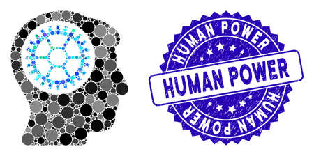 Mosaic head cogwheel icon and rubber stamp watermark with Human Power caption. Mosaic vector is formed with head cogwheel icon and with randomized spheric items. Ilustração