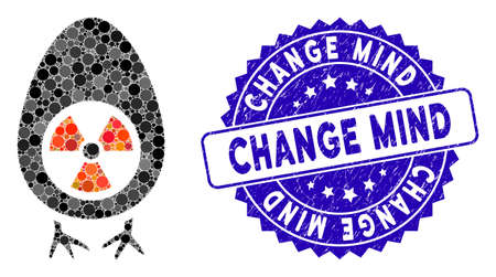 Mosaic atomic project icon and corroded stamp seal with Change Mind phrase. Mosaic vector is designed from atomic project icon and with scattered circle spots. Change Mind stamp seal uses blue color,