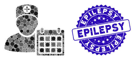 Mosaic doctor schedule calendar icon and distressed stamp seal with Epilepsy caption. Mosaic vector is composed with doctor schedule calendar icon and with random circle elements.