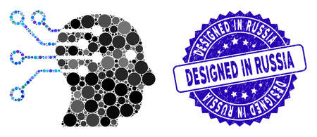 Mosaic cyborg brain interface circuit icon and corroded stamp seal with Designed in Russia text. Mosaic vector is formed with cyborg brain interface circuit icon and with random circle elements. Ilustrace