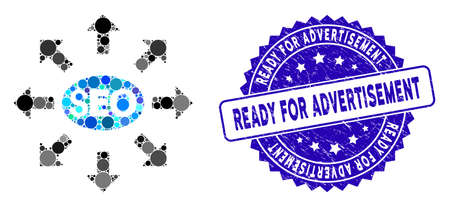 Mosaic seo distribution icon and grunge stamp seal with Ready for Advertisement phrase. Mosaic vector is designed with seo distribution icon and with random spheric spots.