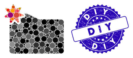Mosaic new folder icon and corroded stamp seal with D I Y caption. Mosaic vector is formed from new folder icon and with randomized circle items. D I Y stamp seal uses blue color, and rubber texture.