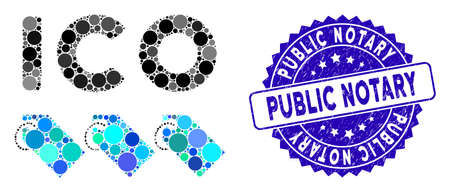 Mosaic ICO tokens icon and distressed stamp seal with Public Notary phrase. Mosaic vector is created with ICO tokens icon and with random round spots. Public Notary seal uses blue color, Stock Illustratie