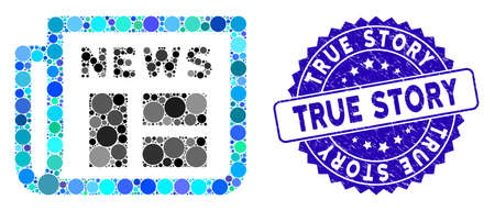 Mosaic newspaper icon and distressed stamp seal with True Story caption. Mosaic vector is created with newspaper icon and with randomized spheric spots. True Story stamp seal uses blue color,