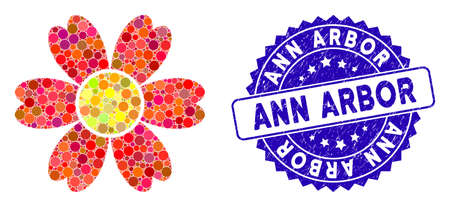 Mosaic flower icon and corroded stamp seal with Ann Arbor text. Mosaic vector is composed with flower icon and with random round spots. Ann Arbor stamp uses blue color, and grunge design.