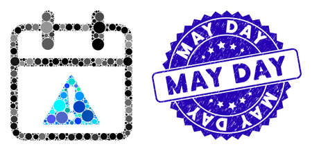 Mosaic problem day icon and distressed stamp seal with May Day text. Mosaic vector is designed with problem day icon and with randomized circle spots. May Day seal uses blue color,