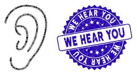 Mosaic hear icon and rubber stamp seal with We Hear You phrase. Mosaic vector is designed from hear icon and with scattered circle spots. We Hear You stamp seal uses blue color, and distress design.