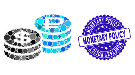 Mosaic rouble and dollar coins icon and grunge stamp seal with Monetary Policy text. Mosaic vector is designed with rouble and dollar coins icon and with scattered spheric spots.
