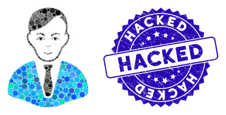 Mosaic businessman icon and grunge stamp watermark with Hacked text. Mosaic vector is formed from businessman icon and with randomized spheric elements. Hacked stamp uses blue color, Vectores
