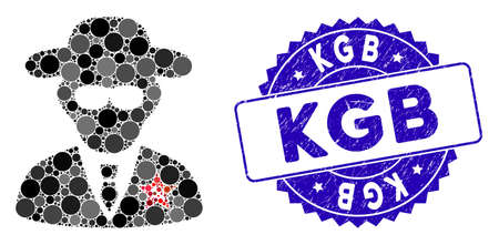 Collage KGB spy icon and rubber stamp seal with KGB caption. Mosaic vector is designed with KGB spy icon and with randomized circle items. KGB stamp uses blue color, and distress design.