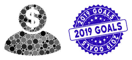 Mosaic banker icon and grunge stamp watermark with 2019 Goals text. Mosaic vector is formed with banker icon and with random spheric items. 2019 Goals stamp seal uses blue color, and grunge texture. Illustration