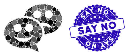 Mosaic emotion chat messages icon and rubber stamp seal with Say No text. Mosaic vector is created with emotion chat messages pictogram and with scattered circle elements. Illusztráció