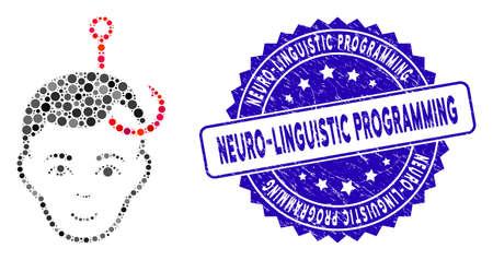 Icône de tête d'homme accroché en mosaïque et sceau de timbre grunge avec texte de programmation neuro-linguistique. Le vecteur mosaïque est composé d'une icône de tête d'homme accroché et d'éléments de cercle aléatoires.