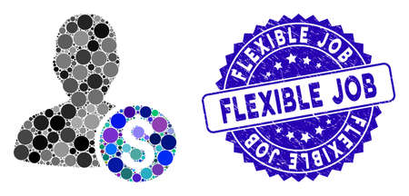 Collage investor icon and rubber stamp seal with Flexible Job text. Mosaic vector is designed with investor icon and with random spheric spots. Flexible Job stamp seal uses blue color,