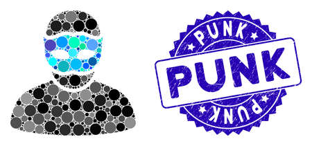 Mosaic mask person icon and rubber stamp seal with Punk caption. Mosaic vector is composed with mask person pictogram and with random spheric spots. Punk seal uses blue color, and rubber surface.