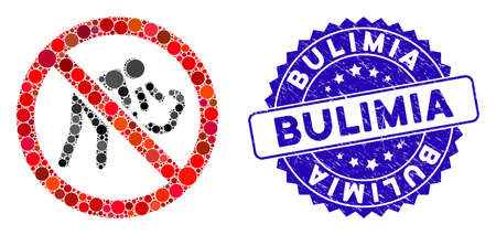 Mosaic no vomit icon and grunge stamp seal with Bulimia caption. Mosaic vector is formed from no vomit pictogram and with scattered round elements. Bulimia stamp seal uses blue color,