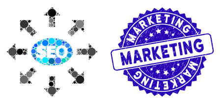 Mosaic seo marketing icon and rubber stamp seal with Marketing caption. Mosaic vector is created with seo marketing pictogram and with random round elements. Marketing stamp seal uses blue color,