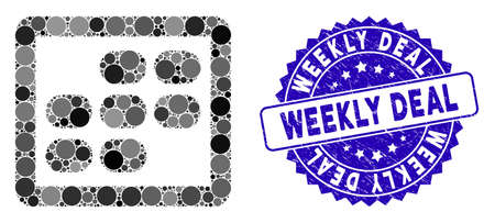Mosaic week calendar icon and distressed stamp seal with Weekly Deal caption. Mosaic vector is composed from week calendar icon and with scattered round spots. Weekly Deal stamp seal uses blue color, Stock Illustratie