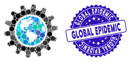 Mosaic Earth engineering icon and rubber stamp watermark with Global Epidemic text. Mosaic vector is composed from Earth engineering icon and with randomized spheric spots.