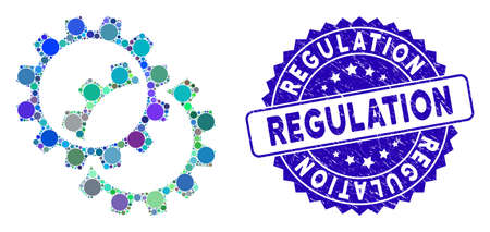 Collage configuration gears icon and corroded stamp seal with Regulation caption. Mosaic vector is composed with configuration gears icon and with randomized circle spots.