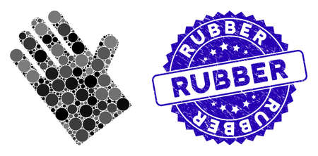 Mosaic rubber glove icon and corroded stamp seal with Rubber phrase. Mosaic vector is composed with rubber glove icon and with random circle elements. Rubber stamp seal uses blue color,