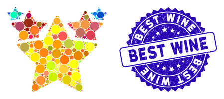 Mosaic hit parade icon and rubber stamp watermark with Best Wine text. Mosaic vector is designed with hit parade icon and with randomized round spots. Best Wine stamp seal uses blue color,